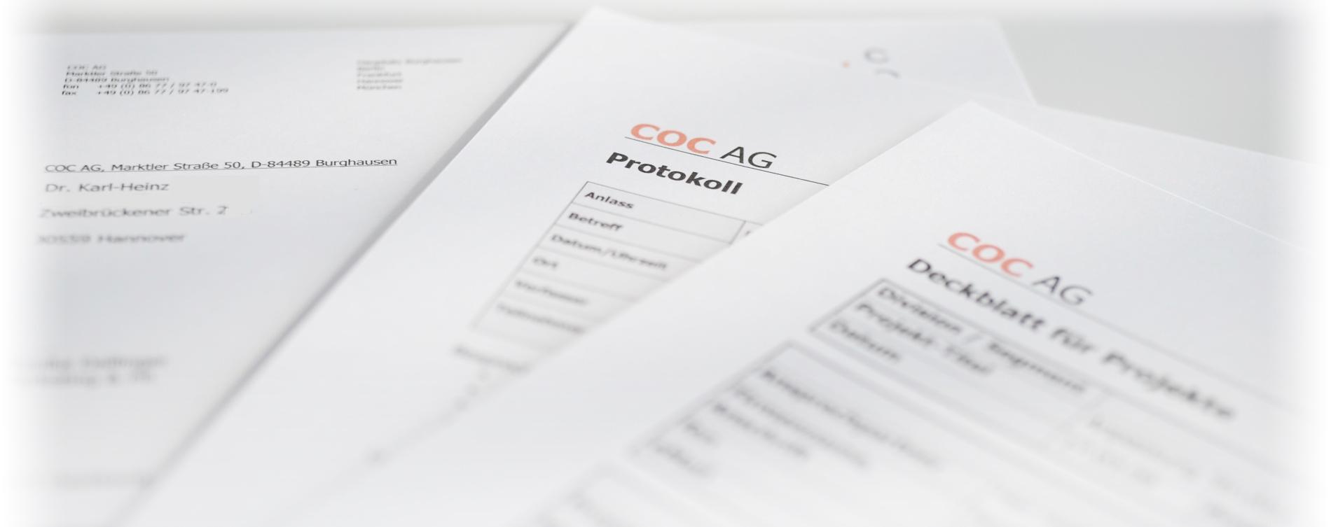 Vorlagenbeispiele Brief, Protokoll, Deckblatt für Projekte